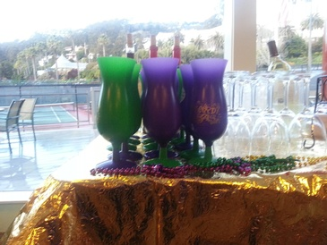 Green and Purple Cocktail Glasses - Event Catering Oakland by Carolyn's Creole Kitchen
